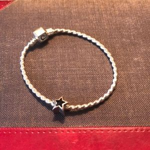 Silver bracelet with letter C and star charms